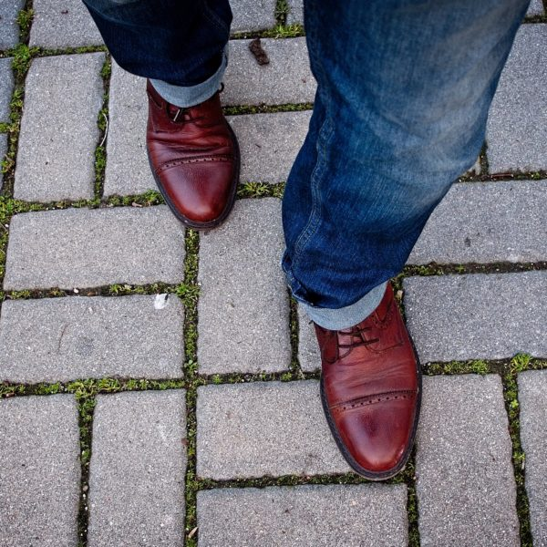 red shoes walking