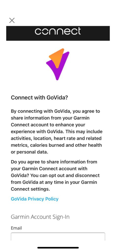 Initial Garmin Connect Permission for linking GoVida - the employee wellbeing app to Garmin Connect enabling users to track their steps activity and physical activities