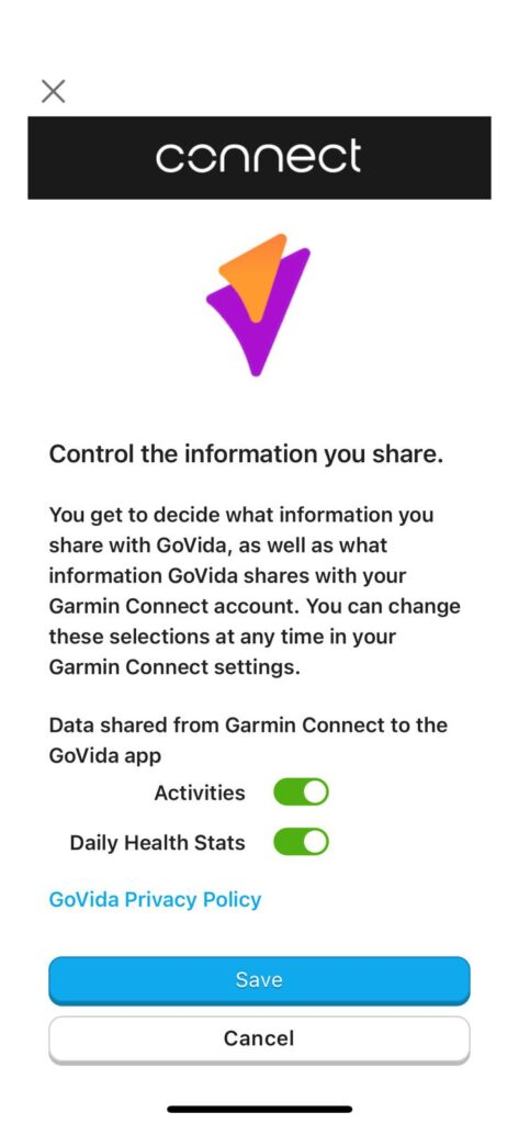 Garmin Connect Permission for linking GoVida - the employee wellbeing app to Garmin Connect enabling users to track their steps activity and physical activities