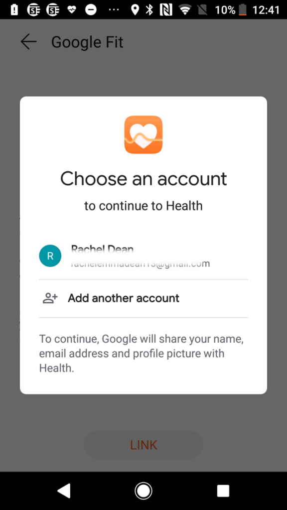 Screen from Huawei Health App - Choose the Google Fit account that you are using on your device and have linked to GoVida