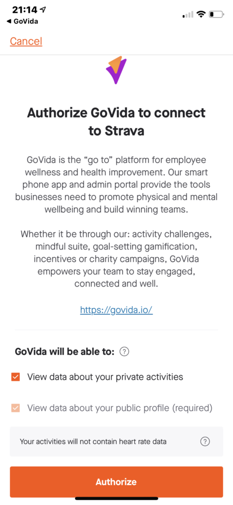 User permission form to enable GoVida - the employee wellbeing app to connect with Strava