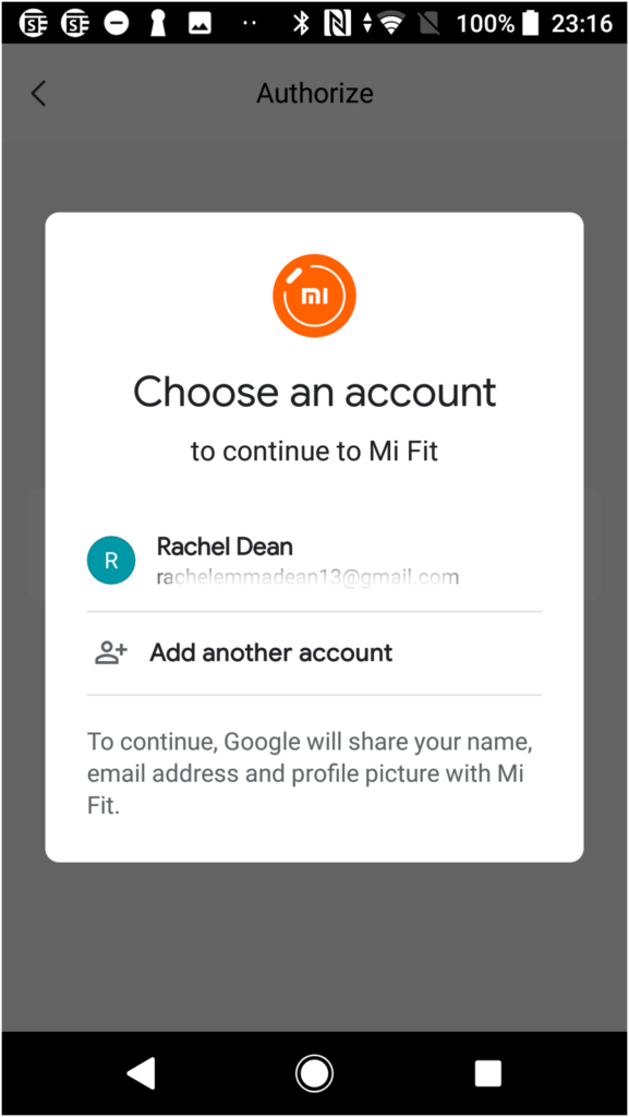 Mi Fit Screenshot for syncing your Mi Fit data to Google Fit