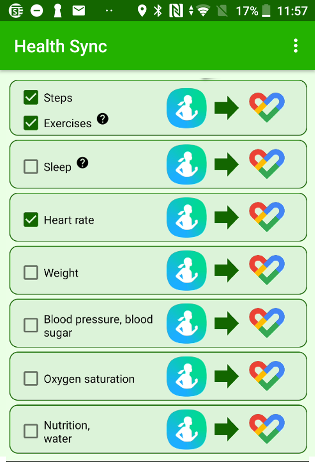 Health Sync Permissions Screen for enabling data to be shared from Samsung Health to Google Fit