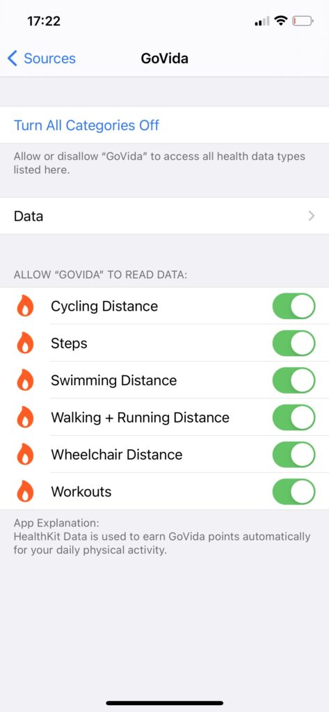 Apple Health screen when allowing GoVida - the employee wellbeing app to use Steps and Activity data