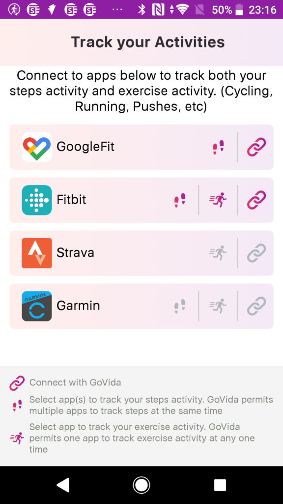 Recommended steps tracking configuration for Fitbit and Google Fit for GoVida - the employee wellbeing app