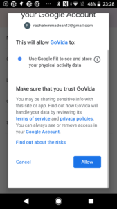 Google Fit permission form linking GoVida - the employee wellbeing app to Google Fit enabling users to track their steps activity