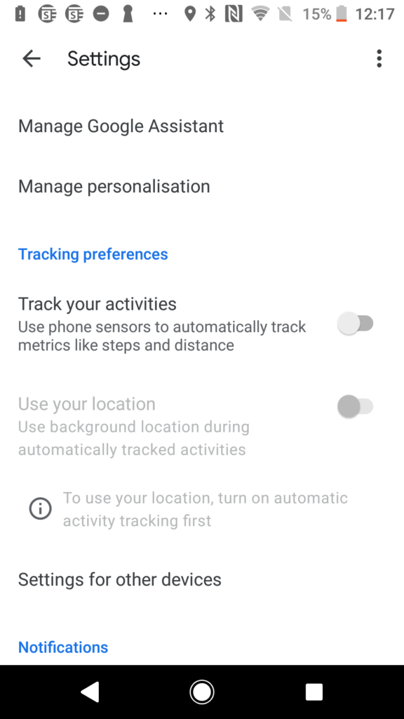 Google Fit screen shot for tracking activities off