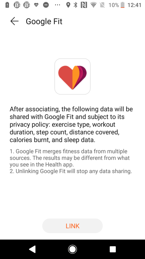 Huawei Health App -Permission Screen for Google Fit