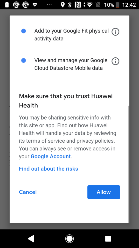 Screen showing Huawei Health App - Click Allow if happy to share Google Fit data with Huawei Health