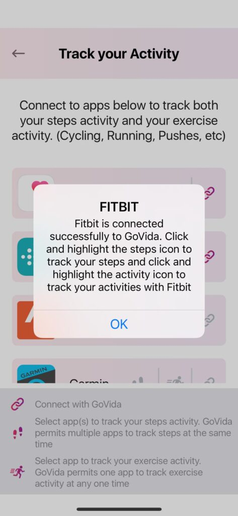 In app pop up in GoVida - the employee wellbeing app once Fitbit is successfully connected with GoVida