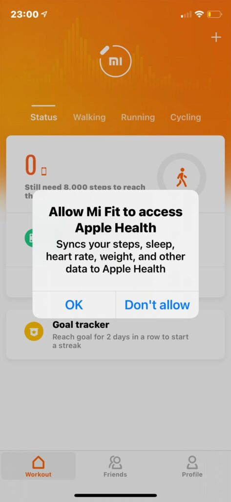 Screen on Mi Fit for connecting Band to Apple Health