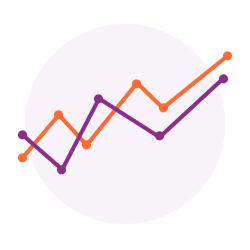 Line Graph icon to represent how GoVida the employee wellbeing platform provides organisations data on the wellbeing of their team enabling them to build a winning wellness stratgey